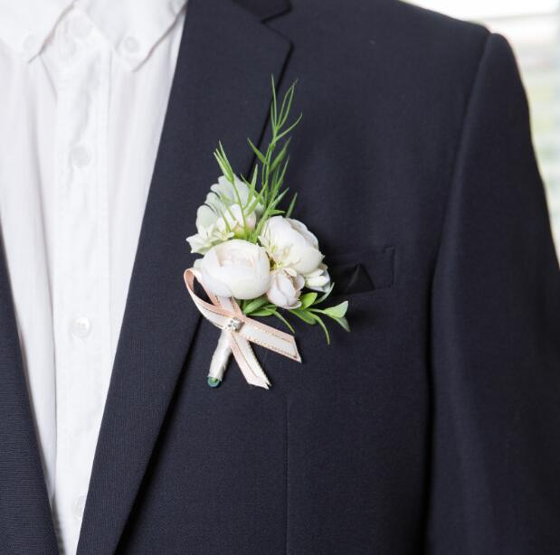 White Artificial Grooms Single and Double Buttonholes And Co-ordinating Wrist Flowers/Corsages - weddingniknaks