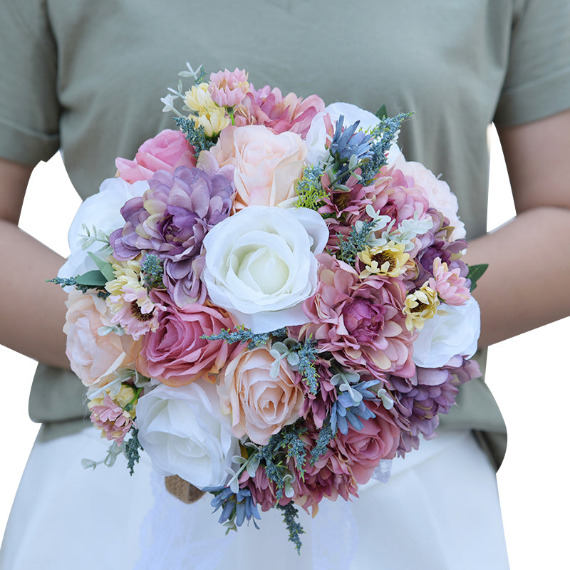 Wild Flower bridal bouquet made up of various flowers available in 2 colour options-weddingniknaks