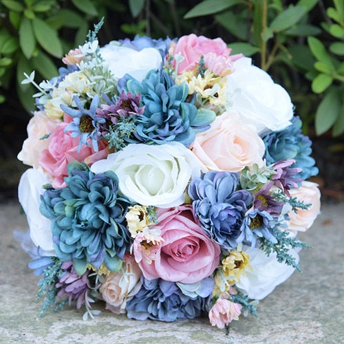 Wild Flower bridal bouquet made up of various flowers available in 2 colour optionssame as pic-weddingniknaks