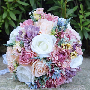 Wild Flower bridal bouquet made up of various flowers available in 2 colour optionssame as pic 1-weddingniknaks
