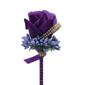 Silk Rose and Rhinestone Grooms Pin/Button Hole. Available in 11 different colours. - weddingniknaks