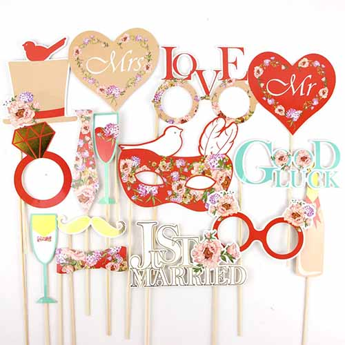 16 WEDDING SELFIE/PHOTO BOOTH/PHOTO PROPS. AVAILABLE IN 2 STYLESStyle 2(red) 15pcs-weddingniknaks