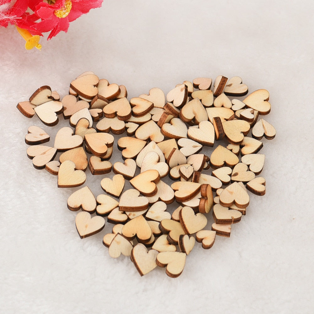 100Pcs Mixed Rustic Wooden Love Heart DIY Table Scatters/Table Decoration-weddingniknaks