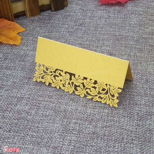 50 Laser cut place setting/table number cards, available in 9 different styles06-gold-weddingniknaks
