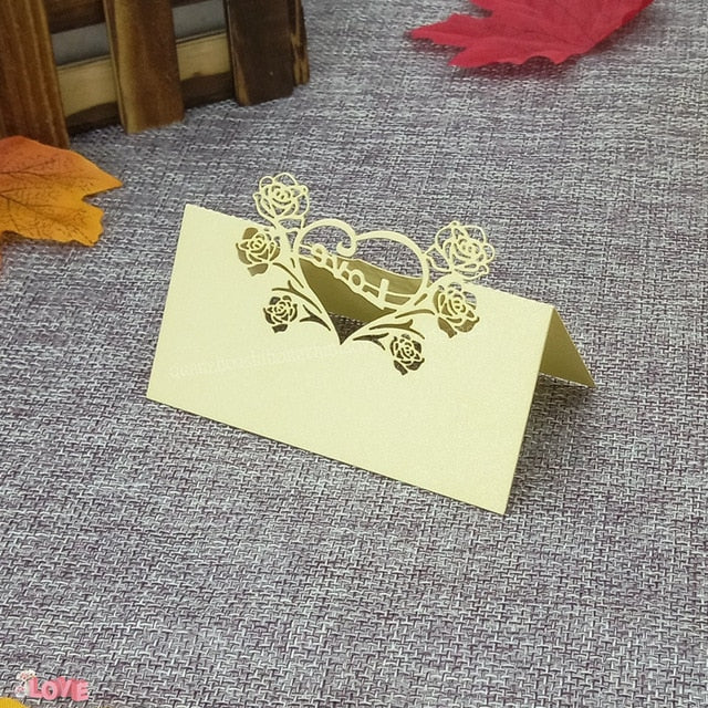 50 Laser cut place setting/table number cards, available in 9 different styles - weddingniknaks