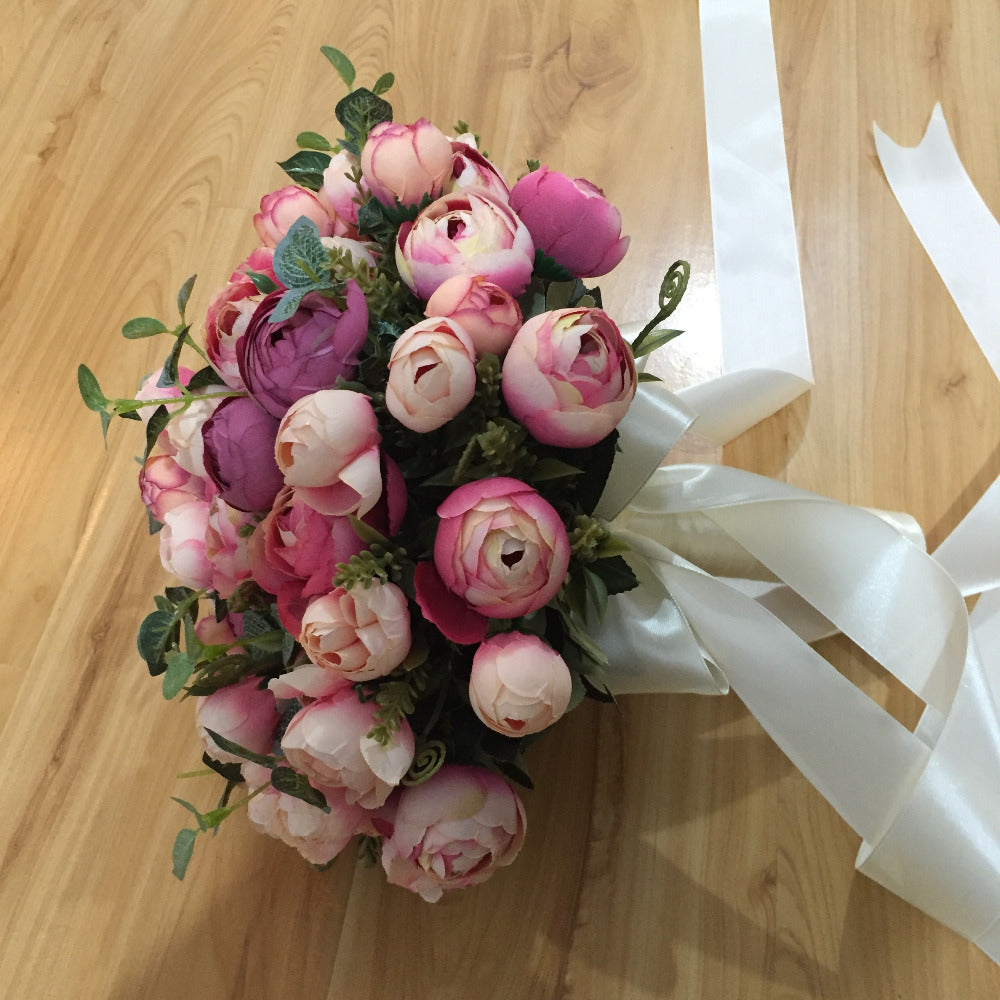 HANDMADE TEA ROSE RIBBON WEDDING BOUQUET IN PINKS - weddingniknaks