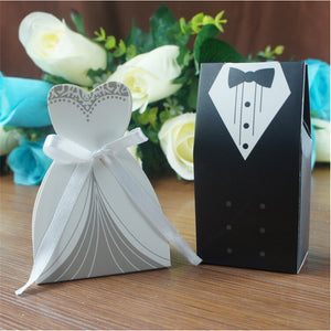 50 BRIDE AND 50 GROOM IN TUXEDO FAVOR/CANDY BOXES-weddingniknaks