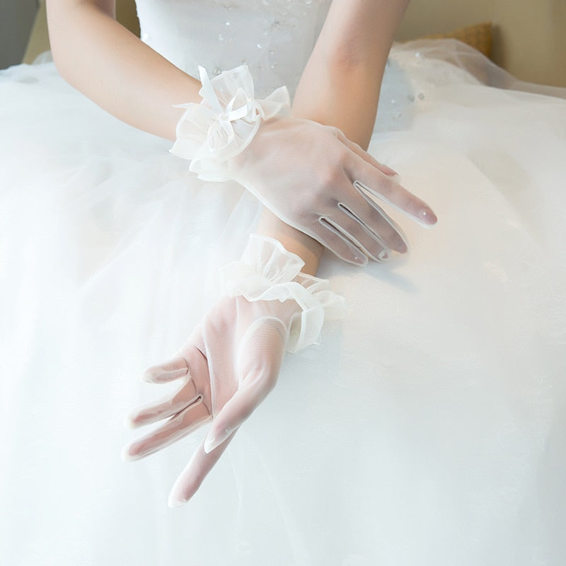 WHITE, WRIST LENGTH, FULL FINGER, SHEER MESH BRIDAL GLOVES - weddingniknaks