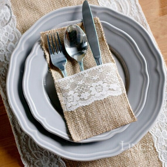 50 NATURAL JUTE BURLAP AND LACE CUTLERY POCKETS/HOLDERS-weddingniknaks