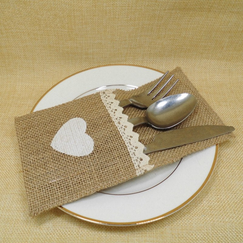 24 HESSIAN BURLAP CUTLERY POCKETS/HOLDERS WITH LACE TRIM AND HEART EMBELLISHMENT-weddingniknaks