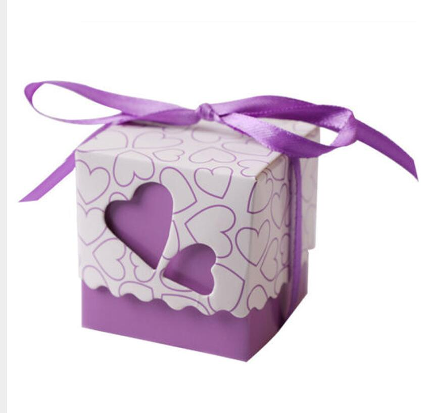 10 Hollow Heart Favor Boxes, available in 5 different colours-weddingniknaks
