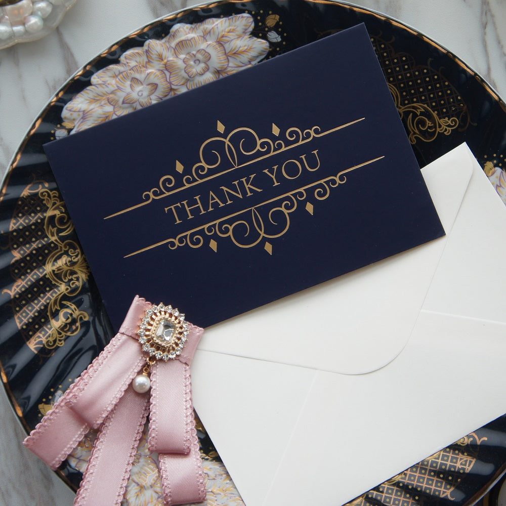 Deep Blue Thank You Card with Gold Embossing, complete with Envelope - weddingniknaks