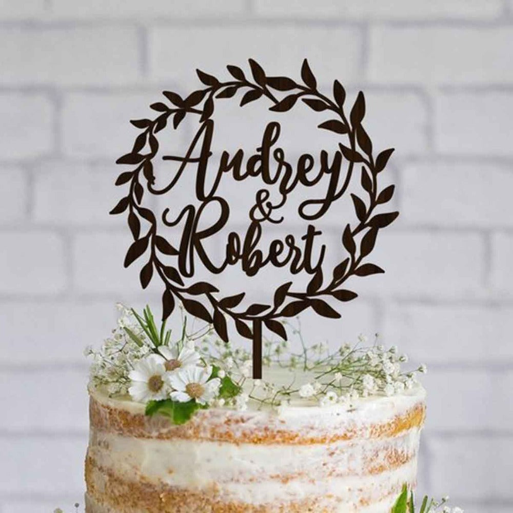 Personalised Wedding Cake Topper With Wreath. 4 Sizes And 12 Colours Available - weddingniknaks