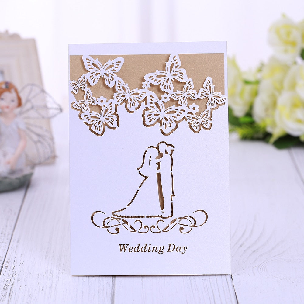 100  ICE WHITE, WITH GOLD CARD INSERT, LASER CUT WEDDING INVITATIONS-weddingniknaks