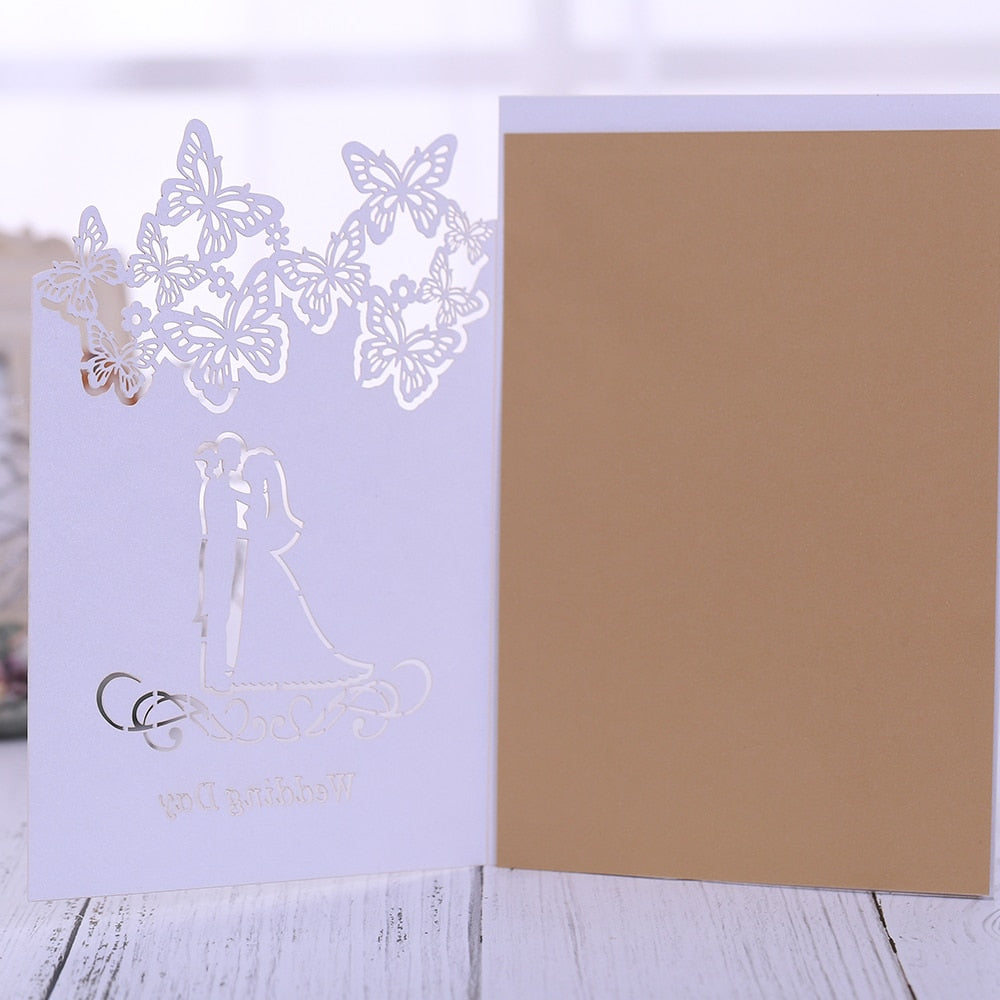 40 ICE WHITE, WITH GOLD CARD INSERT, LASER CUT WEDDING INVITATIONS-weddingniknaks