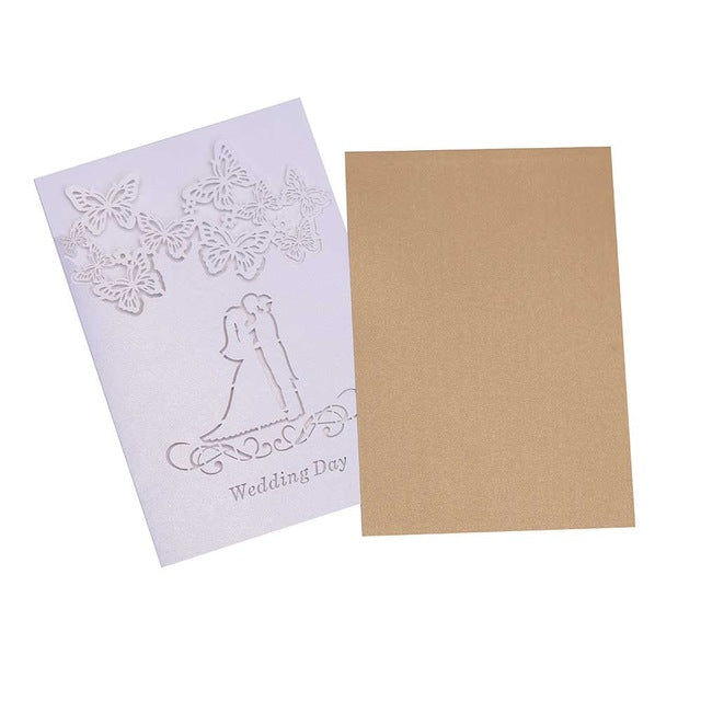 40 ICE WHITE, WITH GOLD CARD INSERT, LASER CUT WEDDING INVITATIONS - weddingniknaks