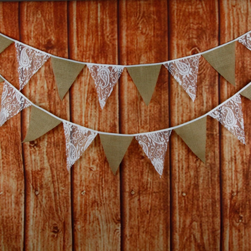 BUNTING/WEDDING BANNER IN LACE AND BURLAP 12 FLAG - weddingniknaks