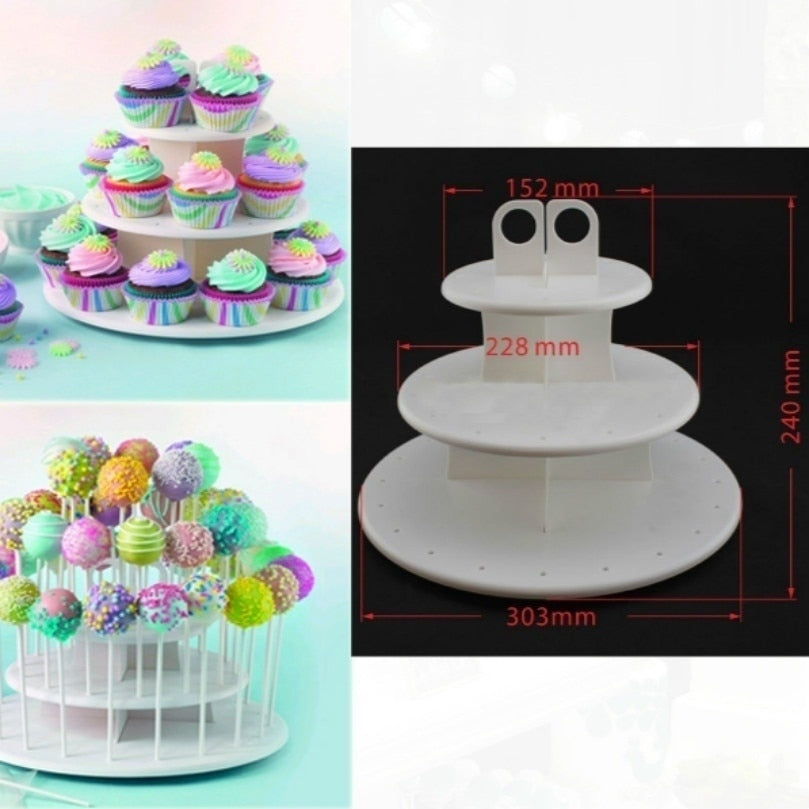 3 TIER WHITE CUPCAKE/CAKE POP/LOLLIPOP STAND IN WHITE PLASTIC - weddingniknaks