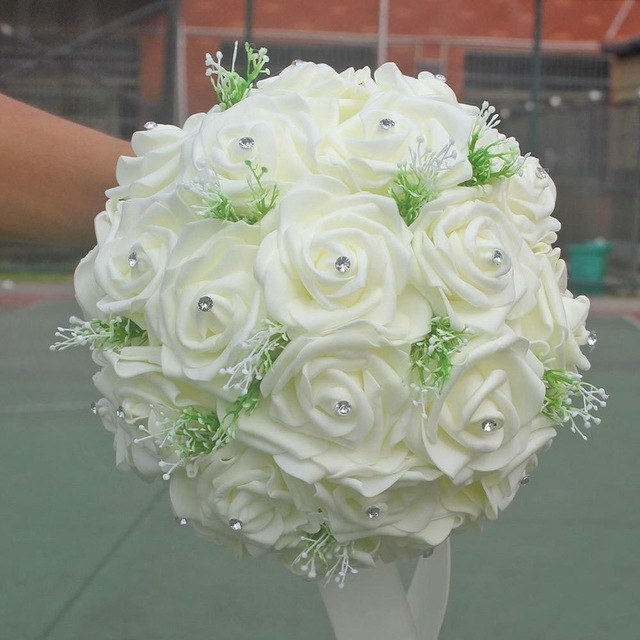 STUNNING IVORY ROSE AND CRYSTAL BOUQUET. AVAILABLE IN 2 SIZES - weddingniknaks