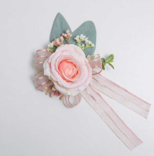Pink Rose Flower Corsage, Button Hole, Wrist Corsage and Button Corsages. - weddingniknaks