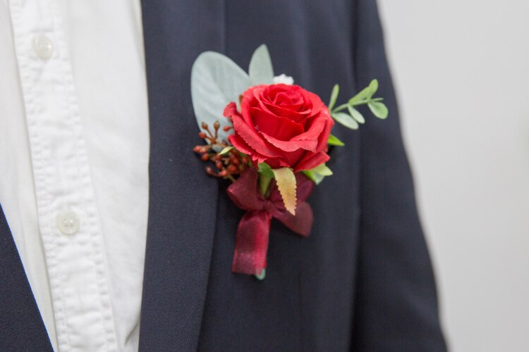 Red Rose Corsages, Groom Buttonhole, Wrist Flowers with ribbon and delicate berry decoration-weddingniknaks