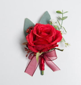 Red Rose Corsages, Groom Buttonhole, Wrist Flowers with ribbon and delicate berry decorationCorsage 1-weddingniknaks
