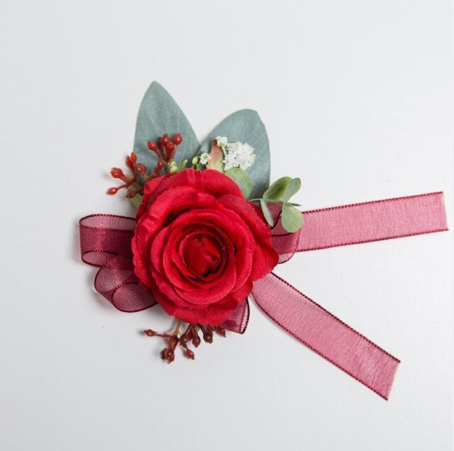 Red Rose Corsages, Groom Buttonhole, Wrist Flowers with ribbon and delicate berry decorationWrist Flower 1-weddingniknaks