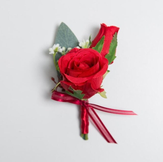 Red Rose Corsages, Groom Buttonhole, Wrist Flowers with ribbon and delicate berry decorationCorsage 2-weddingniknaks