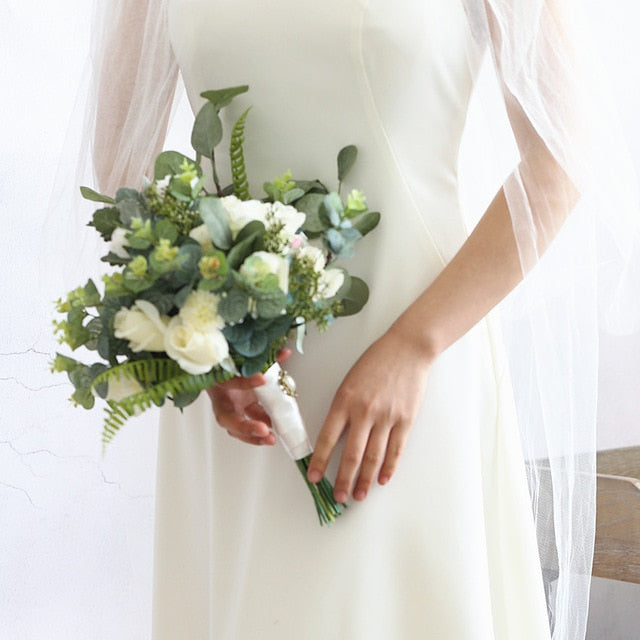 Vintage White Rose and Green Leaf Bouquet with Satin Ribbon around the Stems - weddingniknaks