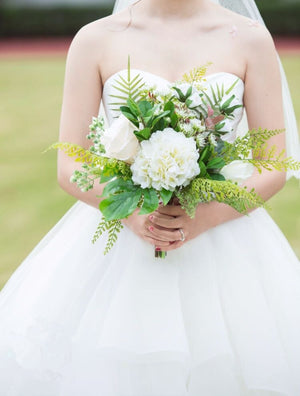 White outdoor Rose Bouquet with Green Leafs.-weddingniknaks