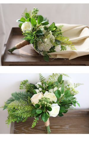 White outdoor Rose Bouquet with Green Leafs. - weddingniknaks