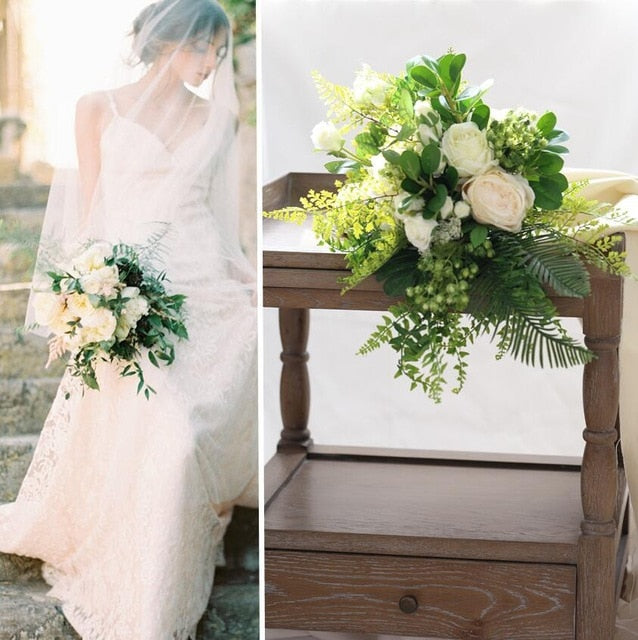 White outdoor Rose Bouquet with Green Leafs.Default Title-weddingniknaks