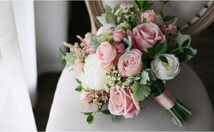 BLUSH PINK ROSE BOUQUET WITH SATIN RIBBON TIED AROUND THE STEMS - weddingniknaks
