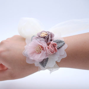 WRIST CORSAGE WITH FLOWER AND LEAF. AVAILABLE IN 4 COLOURS.Light Pink-weddingniknaks