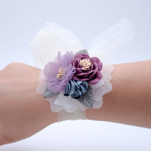 WRIST CORSAGE WITH FLOWER AND LEAF. AVAILABLE IN 4 COLOURS.Purple-weddingniknaks