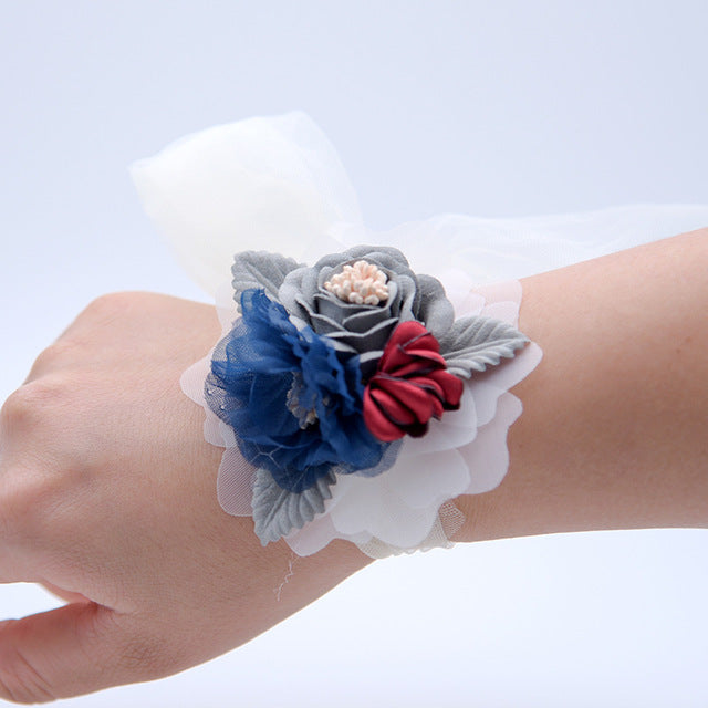 WRIST CORSAGE WITH FLOWER AND LEAF. AVAILABLE IN 4 COLOURS.Deep Blue-weddingniknaks