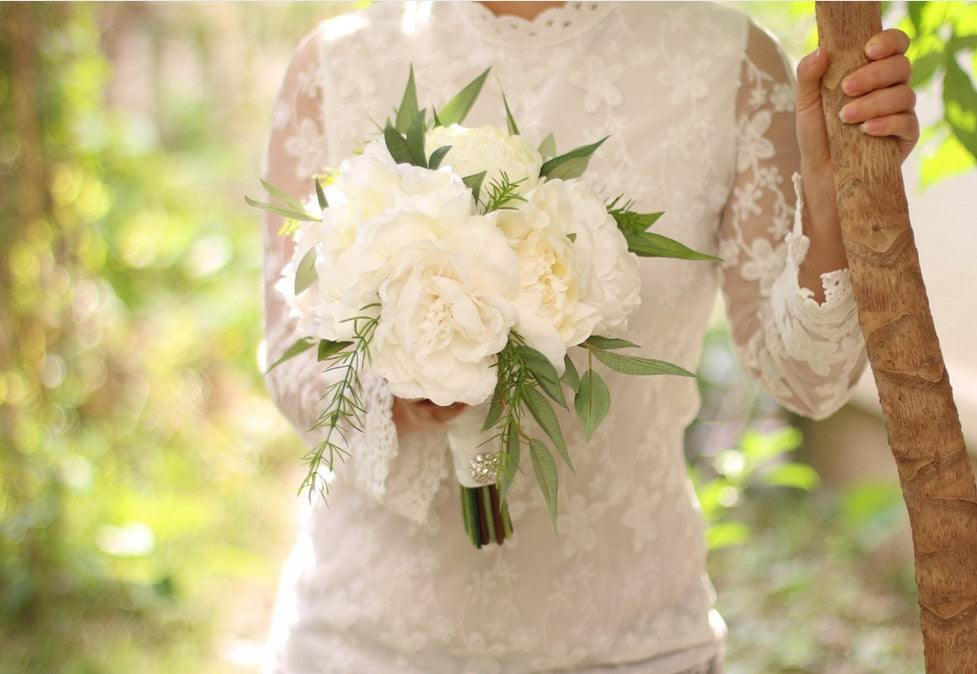 PEONY BOUQUET IN WHITES AND IVORY, MATCHING CORSAGE/BUTTONHOLE AVAILABLE - weddingniknaks