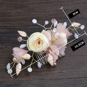 Bridal Hair Comb/Slide with Shells, Beads and Crystals - weddingniknaks