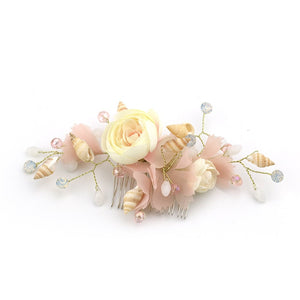 BRIDAL HAIR COMB WITH FLOWERS, SHELLS, PEARLS AND CRYSTAL BEADS - weddingniknaks