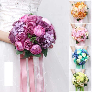 Mixed Flower Wedding Bouquet With Co-ordinating Ribbon, Available In 5 Colours-weddingniknaks