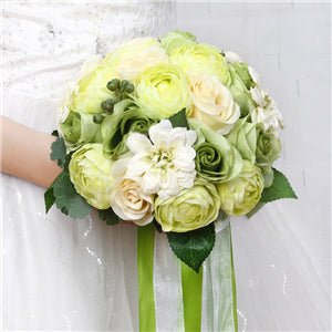 Mixed Flower Wedding Bouquet With Co-ordinating Ribbon, Available In 5 Coloursgreen-weddingniknaks