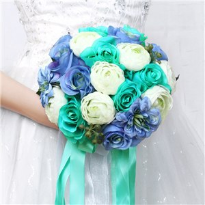 Mixed Flower Wedding Bouquet With Co-ordinating Ribbon, Available In 5 Coloursblue-weddingniknaks