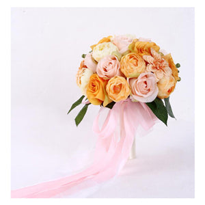 Mixed Flower Wedding Bouquet With Co-ordinating Ribbon, Available In 5 Coloursyellow-weddingniknaks