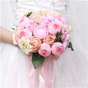 Mixed Flower Wedding Bouquet With Co-ordinating Ribbon, Available In 5 Colourspink-weddingniknaks