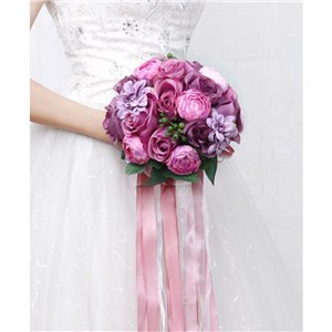 Mixed Flower Wedding Bouquet With Co-ordinating Ribbon, Available In 5 Colourspurple-weddingniknaks