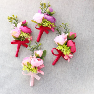 Set of 3 Rose and Flower Corsages/Buttonholes. Available in 4 Colour Variations - weddingniknaks