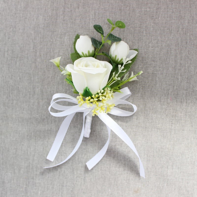 Rose Corsages/Buttonholes with Silk Ribbon, available in 6 different colours.-weddingniknaks
