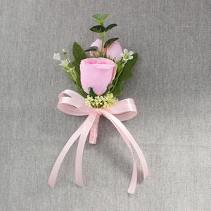 Set of 3 Rose Corsages/Buttonholes with Silk Ribbon, available in 6 different colours. - weddingniknaks