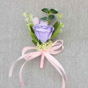 Rose Corsages/Buttonholes with Silk Ribbon, available in 6 different colours.purple-weddingniknaks