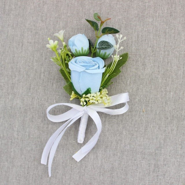 Rose Corsages/Buttonholes with Silk Ribbon, available in 6 different colours.blue-weddingniknaks